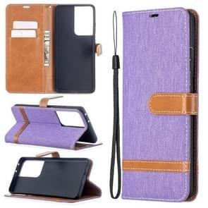 Voor Samsung Galaxy S30 Ultra Color Matching Denim Texture Horizontale Flip Lederen Case met Holder & Card Slots & Wallet & Lanyard(Paars)