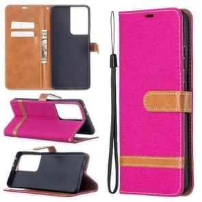 Voor Samsung Galaxy S30 Ultra Color Matching Denim Texture Horizontale Flip Lederen case met Holder & Card Slots & Wallet & Lanyard(Rose Red)