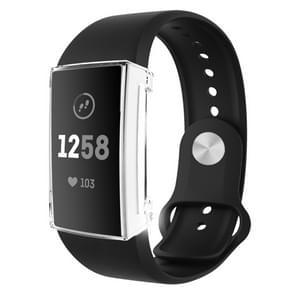 Voor Fitbit charge 3 volledige dekking plating TPU horloge case (transparant)