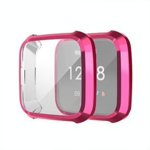 Voor Fitbit versa Lite Smart Watch volledige dekking plating TPU beschermende case (paars rood)
