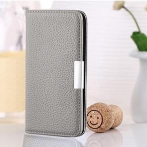 Voor Samsung Galaxy A42 5G Litchi Texture Horizontale Flip Lederen case met Holder & Card Slots(Grijs)