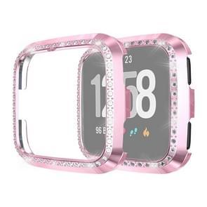 Voor Fitbit versa/versa Lite Universal Smart Watch PC Diamond beschermende case (roze)
