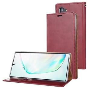 For Galaxy Note 10 MERCURY GOOSPERY BLUE MOON FLIP Series Crazy Horse Texture Horizontal Flip Leather Case with Holder & Card Slots & Wallet(Wine)