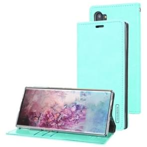 For Galaxy Note 10+ MERCURY GOOSPERY BLUE MOON FLIP Series Crazy Horse Texture Horizontal Flip Leather Case with Holder & Card Slots & Wallet(Mint Green)