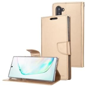 For Galaxy Note 10 MERCURY GOOSPERY BRAVO Series Crazy Horse Texture Horizontal Flip Leather Case with Holder & Card Slots & Wallet((Gold)