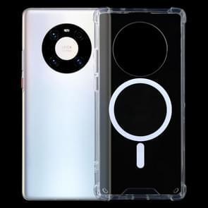 Voor Huawei Mate 40 Magsafe Case Clear Vierhoeks Airbag Schokbestendige PC + TPU Case met Magnetic(Transparant)