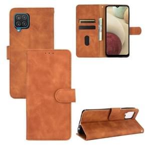 Voor Samsung Galaxy A12 / M12 Solid Color Skin Voel Magnetische gesp horizontale flip kuittextuur PU Lederen case met Holder & Card Slots & Wallet(Bruin)