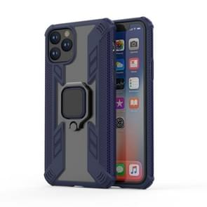 For iPhone 11 Pro Max Iron Warrior Shockproof PC + TPU Protective Case with 360 Degree Rotation Ring Holder(Blue)
