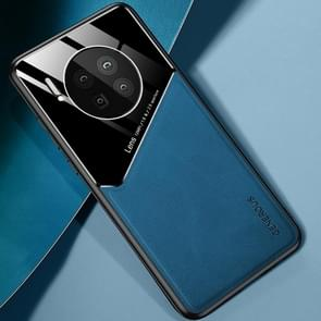 Voor Huawei Mate 40 All-inclusive Leder + Organic Glass Protective Case met metalen ijzeren plaat (Royal Blue)