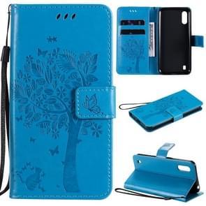 Voor Samsung Galaxy M01 Tree & Cat Patroon Geperst afdrukken horizontale flip PU lederen case met Holder & Card Slots & Wallet & Lanyard(Blauw)