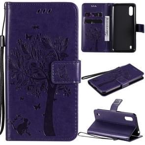Voor Samsung Galaxy M01 Tree & Cat Patroon Geperst afdrukken horizontale flip PU lederen case met Holder & Card Slots & Wallet & Lanyard(Paars)