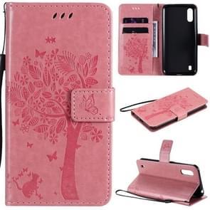 Voor Samsung Galaxy M01 Tree & Cat Patroon Geperst afdrukken horizontale flip PU lederen case met Holder & Card Slots & Wallet & Lanyard(Pink)