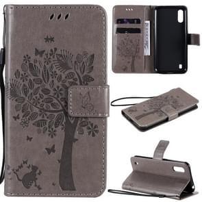 Voor Samsung Galaxy M01 Tree & Cat Patroon Geperst afdrukken horizontale flip PU lederen case met Holder & Card Slots & Wallet & Lanyard(Grijs)