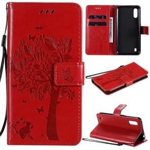 Voor Samsung Galaxy M01 Tree & Cat Patroon Geperst afdrukken horizontale flip PU lederen case met Holder & Card Slots & Wallet & Lanyard(Red)