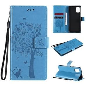 Voor Samsung Galaxy M31s Tree & Cat Patroon Geperst Afdrukken Horizontale Flip PU Lederen case met Holder & Card Slots & Wallet & Lanyard(Blauw)
