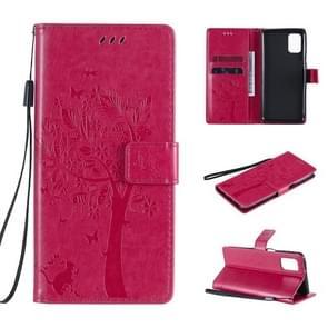 Voor Samsung Galaxy M31s Tree & Cat Patroon Geperst Afdrukken Horizontale Flip PU Lederen case met Holder & Card Slots & Wallet & Lanyard(Rose Red)
