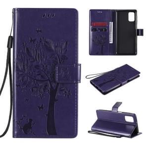 Voor Samsung Galaxy M31s Tree & Cat Patroon Geperst Afdrukken Horizontale Flip PU Lederen case met Holder & Card Slots & Wallet & Lanyard(Paars)