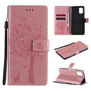 Voor Samsung Galaxy M31s Tree & Cat Patroon Geperst Afdrukken Horizontale Flip PU Lederen case met Holder & Card Slots & Wallet & Lanyard(Pink)