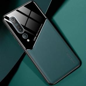Voor Xiaomi Mi 10 All-inclusive Leder + Organic Glass Protective Case met metalen ijzeren vel (groen)