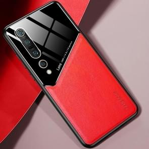 Voor Xiaomi Mi 10 Pro All-inclusive Leder + Organic Glass Protective Case met metalen ijzeren vel (rood)