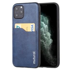 For iPhone 11 Pro Max Mutural Concise Series All-inclusive TPU + PU + PC Case with Card Slots(Blue)