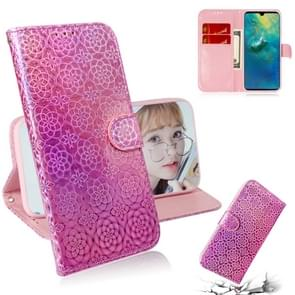 For Huawei Mate 20 Solid Color Colorful Magnetic Buckle Horizontal Flip PU Leather Case with Holder & Card Slots & Wallet & Lanyard(Pink)