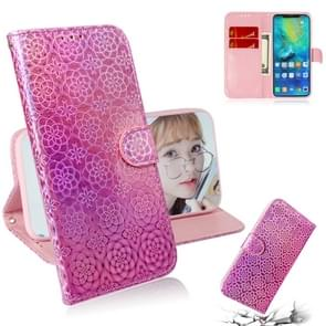 For Huawei Mate 20 Pro Solid Color Colorful Magnetic Buckle Horizontal Flip PU Leather Case with Holder & Card Slots & Wallet & Lanyard(Pink)