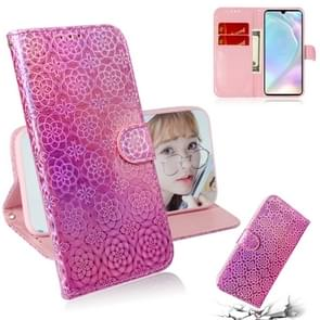 For Huawei P30 Solid Color Colorful Magnetic Buckle Horizontal Flip PU Leather Case with Holder & Card Slots & Wallet & Lanyard(Pink)