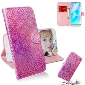 For Huawei P30 Lite / Nova 4e Solid Color Colorful Magnetic Buckle Horizontal Flip PU Leather Case with Holder & Card Slots & Wallet & Lanyard(Pink)