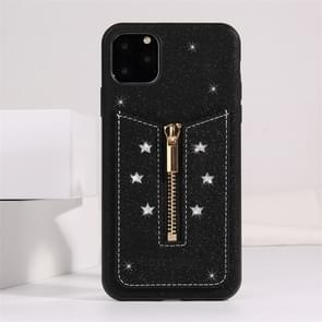 For iPhone 11 Pro Max Starry Sky Star Zipper Protective Case with Card Slot(Black)