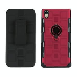 Voor Sony Xperia XA1 Ultra 3 in 1 Cube PC + TPU beschermhoes met 360 graden draaien zwarte ringhouder(rood)