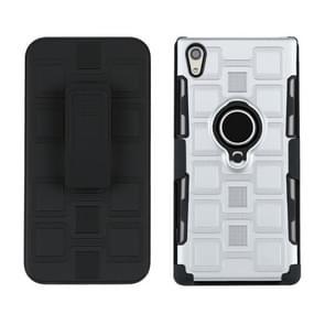 Voor Sony Xperia XA1 Ultra 3 in 1 Cube PC + TPU beschermhoes met 360 graden draaien zwarte ringhouder (zilver)
