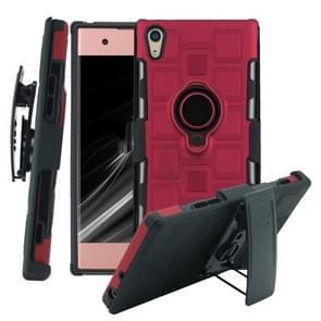 Voor Sony Xperia XA1 3 In 1 Cube PC + TPU beschermhoes met 360 graden draaien zwarte ringhouder (rood)