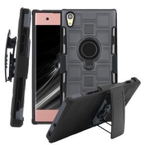 Voor Sony Xperia XA1 3 In 1 Cube PC + TPU beschermhoes met 360 graden draaien zwarte ringhouder(Grijs)