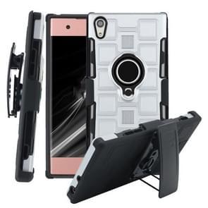 Voor Sony Xperia XA1 3 In 1 Cube PC + TPU beschermhoes met 360 graden draaien zwarte ringhouder (zilver)