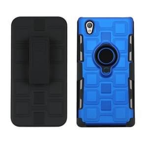 Voor Sony Xperia L1 3 in 1 Cube PC + TPU beschermhoes met 360 graden draaien zwarte ringhouder (blauw)