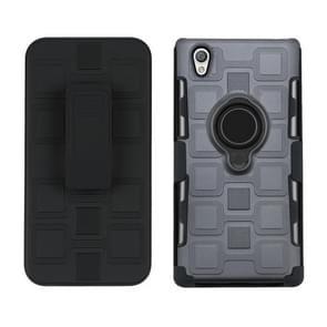 Voor Sony Xperia L1 3 In 1 Cube PC + TPU beschermhoes met 360 graden draaien zwarte ringhouder (grijs)