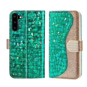 For Galaxy Note10 Laser Glitter Powder Matching Crocodile Texture Horizontal Flip Leather Case, with Card Slots & Holder(Green)
