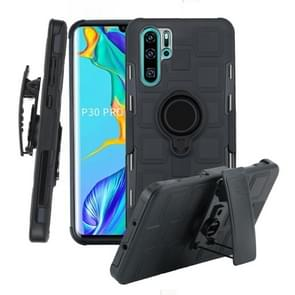 For Huawei P30 Pro 3 In 1 Cube PC + TPU Protective Case with 360 Degrees Rotate Black Ring Holder(Black)