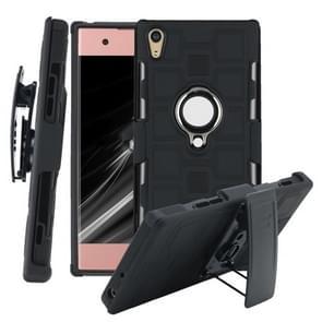 Voor Sony Xperia XA1 3 In 1 Cube PC + TPU beschermhoes met 360 graden zilveren ringhouder draaien (zwart)