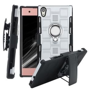 Voor Sony Xperia XA1 3 In 1 Cube PC + TPU beschermhoes met 360 graden zilveren ringhouder draaien (zilver)