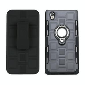 Voor Sony Xperia L1 3 In 1 Cube PC + TPU beschermhoes met 360 graden zilveren ringhouder draaien (grijs)