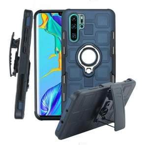 For Huawei P30 Pro 3 In 1 Cube PC + TPU Protective Case with 360 Degrees Rotate Silver Ring Holder(Navy Blue)