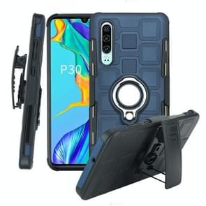 For Huawei P30 3 In 1 Cube PC + TPU Protective Case with 360 Degrees Rotate Silver Ring Holder(Navy Blue)