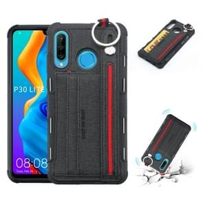 For Huawei P30 Lite Cloth Texture + TPU Shockproof Protective Case with Metal Ring & Holder & Card Slots & Hanging Strap(Black)