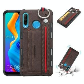 For Huawei P30 Lite Cloth Texture + TPU Shockproof Protective Case with Metal Ring & Holder & Card Slots & Hanging Strap(Coffee)