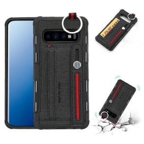 Voor Galaxy S10 PLUS doek textuur + TPU schokbestendige beschermhoes met metalen ring & houder & kaartsleuven & hangende riem (zwart)