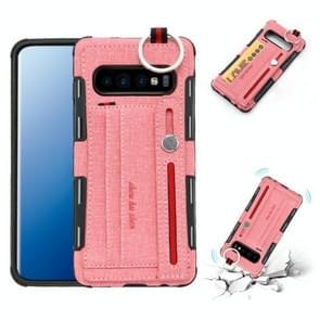 Voor Galaxy S10 PLUS doek textuur + TPU schokbestendige beschermhoes met metalen ring & houder & kaartsleuven & hangende riem (roze)