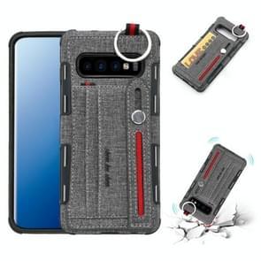 Voor Galaxy S10 PLUS doek textuur + TPU schokbestendige beschermhoes met metalen ring & houder & kaartsleuven & hangende riem (grijs)