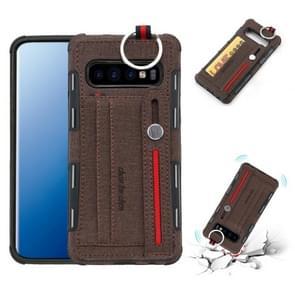 Voor Galaxy S10 PLUS doek textuur + TPU schokbestendige beschermhoes met metalen ring & houder & kaartsleuven & opknoping riem (koffie)
